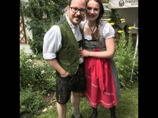 Maxie and me at a Bavarian wedding