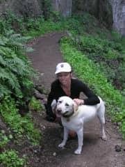 Lisa hiking with Gemma in California