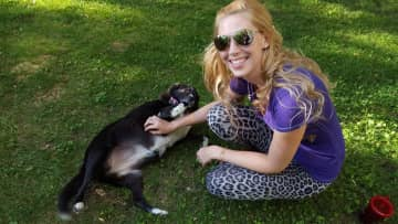 Laci with our friend Marely the mutt.