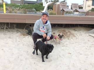 Me with Frankie and Peggy of Aspendale,enjoying their beach playground.