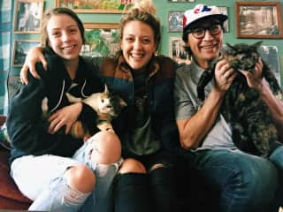 My daughters and I with our cats :)