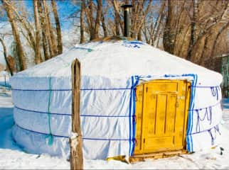 The home we've owned - Authentic Mongolian yurt during a Colorado winter