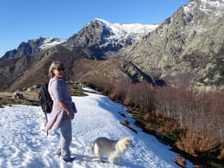 Me and Luna on a walk in the mountains of Corsica