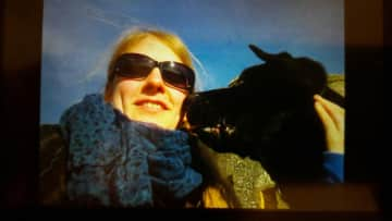 me and a dog Boris, we had a many nice walks together in England (2012)