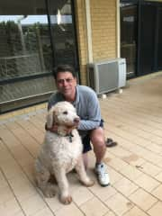 Clive with Sonny( a labradoodle)