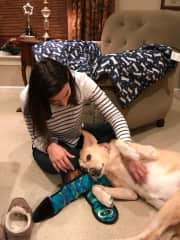 Nuria playing with Clara while visiting for Christmas in 2018.