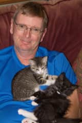 Jhan with foster kittens While in our home, we fostered many dogs and cats until 'forever' homes were found.