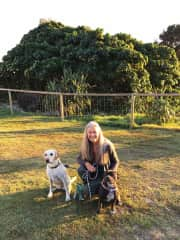 Myself with my two regular beach walking buddies Luna and Mila.