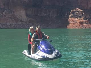 Frank, my husband, and I jet skiing