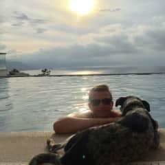 Sunset swims with sweet Sadie