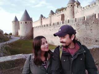 Together in the citadel of Carcassonne, France