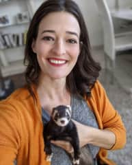 With Molly, the ferret in Antibes!  I looked after three of them and it was maybe my most entertaining sit to date!