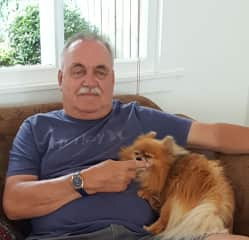 Mike with dog at a housesit