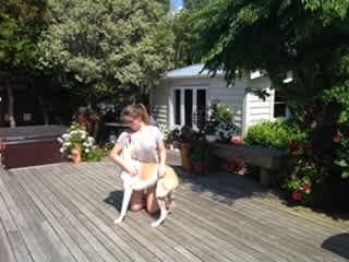 Emma and her friend's dog, Sky.