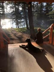Anna and our Labradoodle Jack at our cabin in Jasper Alberta