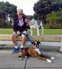 Alan with Maxi the bulldog and Molly the boxer
