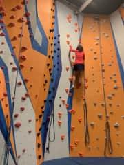 Me rock climbing, indoors