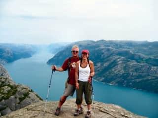 Laura & Jeff in Norway climbing Preikistolen