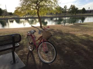 I enjoy leisurely riding my bike around our park lake.  Love the outdoors