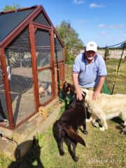 David with Ralph & Bonnie visiting the chooks