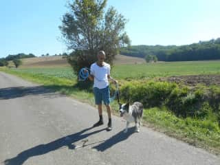 Kent walking Ben the border Collie, in the Gaillac area, France