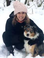 Lucy, Aussie Shepherd, and me in snowy Vancouver, BC, Canada, January 2017, repeat sits, Nov/Dec 2017, Feb 2018