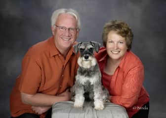 Sam and Valerie with Scoonie, our miniature schnauzer.