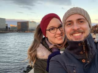 Winter walk by the harbour with my boyfriend,