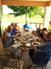Friends, food and wine in France