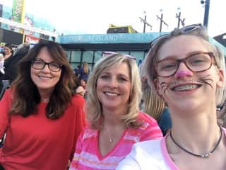 My friend, me, my daughter at the annual Cat Video Festival.