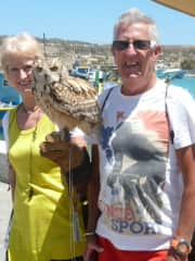 Russell and myself with an owl.