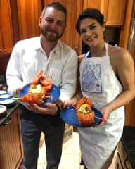 I love to cook, and got to cook for my sister's wedding this summer. Baked-stuffed lobster at her request!