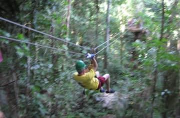Rick & Teresa in Belize, zip-lining