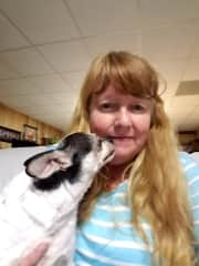 Debbie with Little Boy a 18 year old Chihuahua