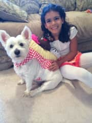 Lily and Joey growing up together. Joey is wearing his ice cream sundae Halloween costume!