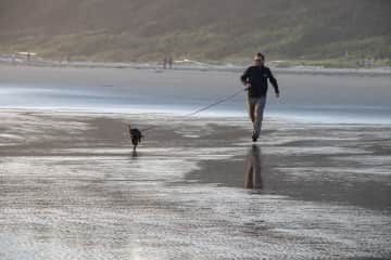 Gareth and Misty on the beach in Tofino BC in 2019