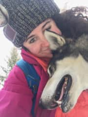Even when I'm on vacation, I love to befriend and cuddle animals. This was a husky I met on a sled dog trip in Canada.