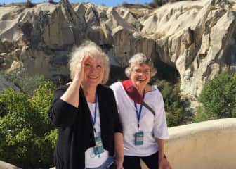 Jean and Elaine in Goreme, Turkey, on a windy day.