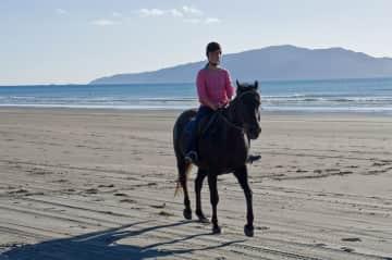 Enjoying a beach ride on the Kapiti Coast, New Zealand