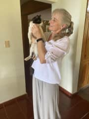 Cuddling with kitty, Carmina, in the Dominican Republic