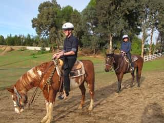 Josh and Chesalyn horseback riding on a trip to Temecula, California