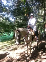 Gail on ride to Mayan ruin in Belize