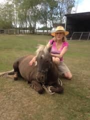Karin with a friend's pony in Christchurch 2016