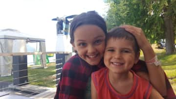 Liv and Theo last year in Canada