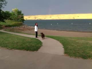 Nancy and Cisco on a walk along the Missouri river.
