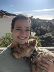 With Gamine in Nice!  She was so cuddly, and sat on my lap every morning while I had my coffee on the balcony.