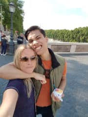 my son and me in Rome
