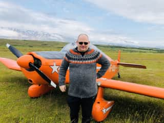 Gudni and his plane in Iceland