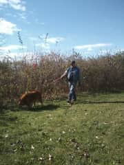 Mike and Roscoe - a walk in the prairie