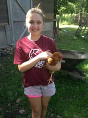One of our many chickens. :-)